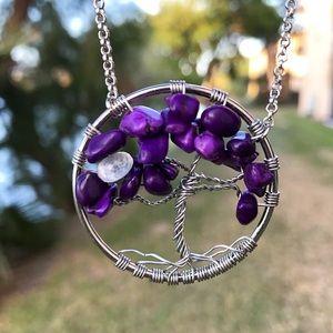 Boho tree of life purple coral moonstone wire wrap
